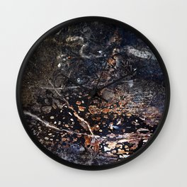 Abstract Forest Floor with Snake on Metal Wall Clock