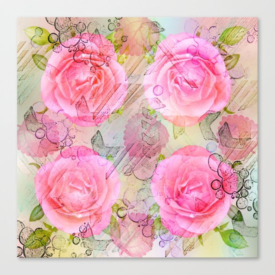 Pink roses on a painterly background Canvas Print