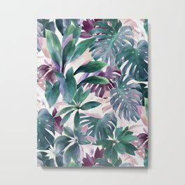 Tropical Emerald Jungle in light cool tones Metal Print