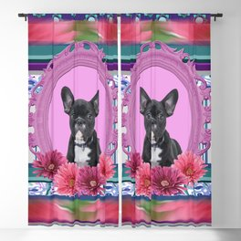 French bulldog in Frame with Gerbera flowers Blackout Curtain