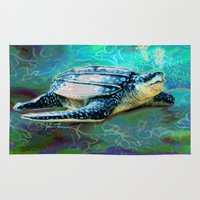 sea turtle Area & Throw Rugs featuring Sea Turtle by JT Digital Art