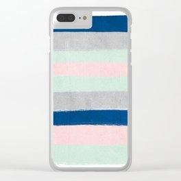 Minimal painted stripe pattern nursery decor trendy gender neutral colors Clear iPhone Case