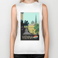 vienna Biker Tanks featuring Visit Vienna by Duke Dastardly