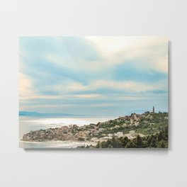 European Sunset | Colorful Costal Clouds Skyline Charming Ocean Town Baby Blue Yellow Tones Metal Print