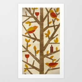 birds and wine Art Print