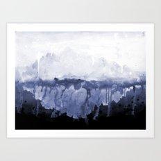 Paint 5 abstract water ocean arctic iceberg nature ocean sea abstract art drip waterfall minimal  Art Print