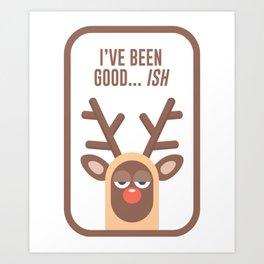 Rudolph Red Nose Reindeer Naughty Nice Good Bad List Funny Art Print
