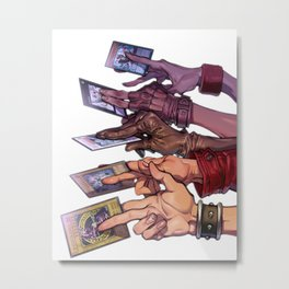 Yu-Gi-Oh Hands with Cards Metal Print