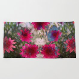 flowers abstract Beach Towel