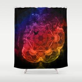 Flying through an alien landscape Shower Curtain