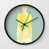 women Wall Clocks featuring Women by Leandro Pita