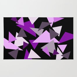 Purple Triangels on black background Rug