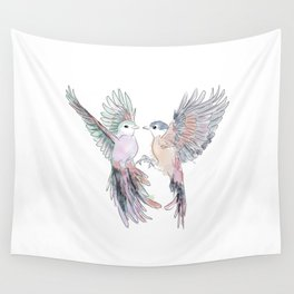 Birds in love tropical bird home decor Wall Tapestry
