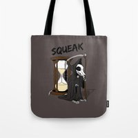 discworld Tote Bags featuring The Death Of Rats II by kat stark