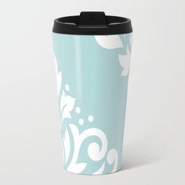 Scoll Damask Art I White on Duck Egg Blue Travel Mug