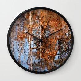 Orange Fall Leaves Birch Trees Blue Sky Reflection Wall Clock