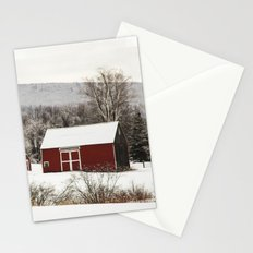 The Red Barn in Winter Stationery Cards