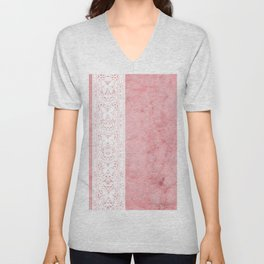 Delicate White Stripe Butterfly Pattern Pink Texure Design Unisex V-Neck