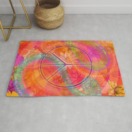 Hippie Chic Paisley Flowers Peace Rug