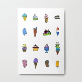 Ice Cream Truck Collage Metal Print