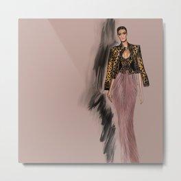 Ocelot jacket fashion illustration  Metal Print