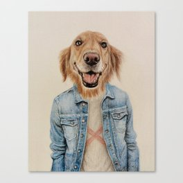 dog cowboy Canvas Print