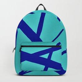 Glowing Aqua and Cobalt Geometric Abstract Backpack