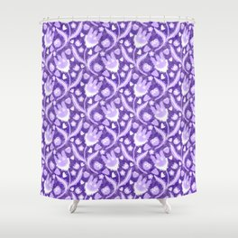 Lilac Lavender Lace Floral, Spring Flower Blossom Pattern Illustration Shower Curtain