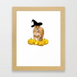 Halloween Lioness Witch Hat Jackolanterns Framed Art Print