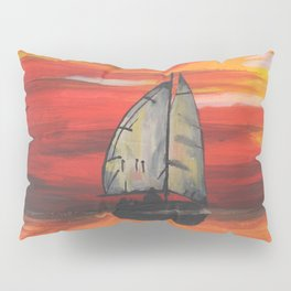 Sailboat at Sea During Sunrise Pillow Sham