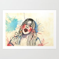 She Smokes Art Print