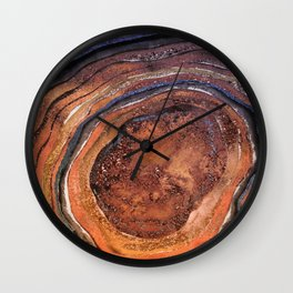 Hand drawn Watercolor Copper Glitter Stone and Ink Abstract Gem Glamour Marble Wall Clock