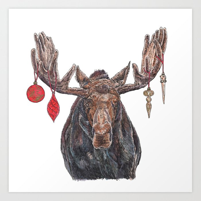 Moose with Baubles Art Print