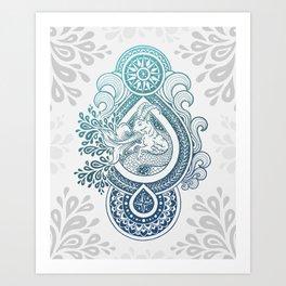 Paisley Capricornus | Turquoise Blue Ombré Art Print
