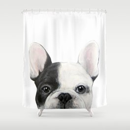 French Bulldog Dog illustration original painting print Shower Curtain