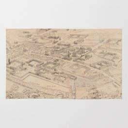 Vintage Pictorial Map of Oxford England (1850) Rug