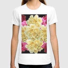 REDDISH MAGENTA PINK ROSES & IVORY ROSES CLUSTERS T-shirt