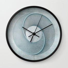 Geometrical Line Art Circle Distressed Teal Wall Clock