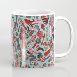 Mushroom Pattern turquoise Coffee Mug