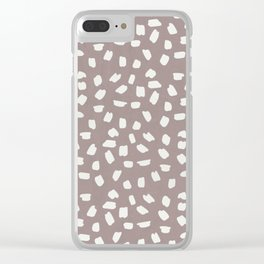 Simply Ink Splotch Lunar Gray on Red Earth Clear iPhone Case