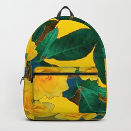 GREEN LEAF ART & YELLOW ROSE FLOWERS  DESIGN Backpack
