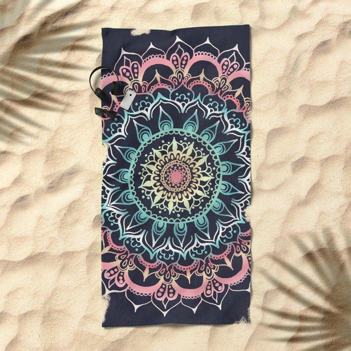 Pink, Cream & Soft Turquoise Glow Medallion on Navy Beach Towel