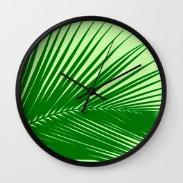 Large Palm Leaf, Emerald and Lime Green Wall Clock