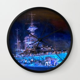 """Charles William Wyllie """"Princess Royal in dry dock after the Jutland battle"""" Wall Clock"""