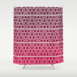 Triangles in triangles on red Shower Curtain