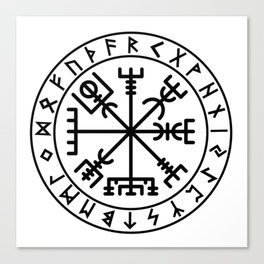 Vegvisir with futhark Canvas Print