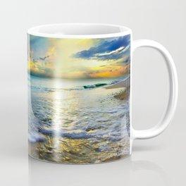 Blue Seascape Art Print Gold Sunrays Sunset Coffee Mug