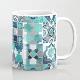 Spanish moroccan tiles inspiration // turquoise green silver lines Coffee Mug
