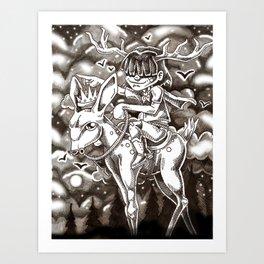 we rode on through the night Art Print
