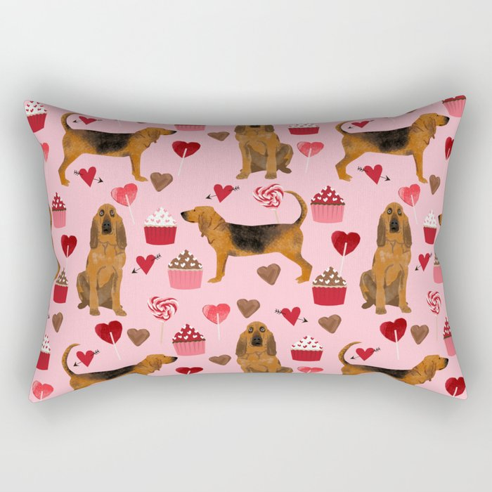 Bloodhounds cupcakes valentines day gifts dog lover pet friendly hearts dog breed Rectangular Pillow